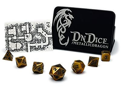 Metallic Dragon - Solid Metal Poly Dice Set By DnDice - Available in Gold, Silver, Copper with Dragon Insignia Presentation Tin