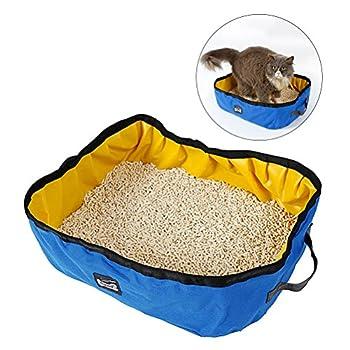 UEETEK Boîte à litière pour chat portable Boîte à litière à chat imperméable à l'eau pour voyager Utilisation à domicile (Bleu)