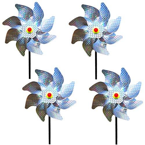Wenxiaw Mulino a Vento Riflettente Allontanare i Piccioni Spaventa Uccelli per Il Controllo degli Uccelli Decorazione del Giardino to Protect Giardino, Frutteto, House, Fattoria (4 Pezzi)
