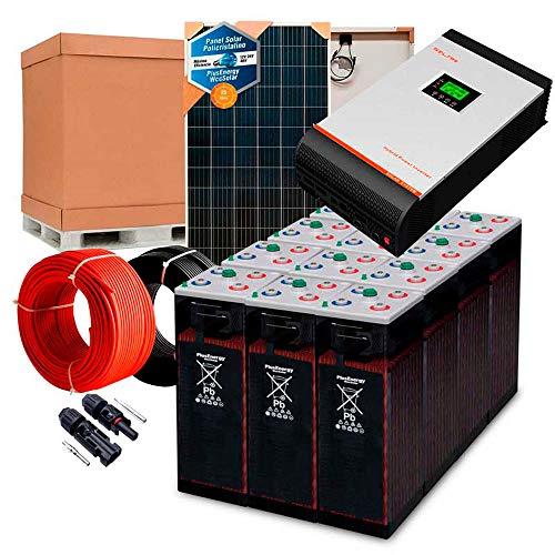 Kit Solar 24V 1.000W / 5.000W Día + 4 Paneles + 12 Baterías 5OPzS 375Ah + Inversor Multifunción 3kva con Regulador PWM 50A