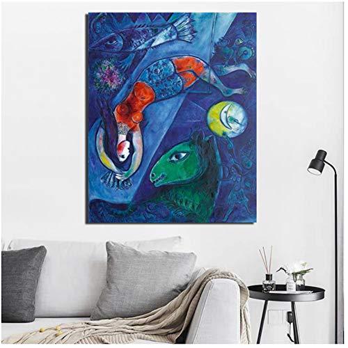 ASLKUYT Marc Chagall Der Blaue Zirkus Leinwand Malerei Poster Drucke Marmor Wandkunst Malerei Dekoratives Bild Moderne Wohnkultur-50x80cm Kein Rahmen