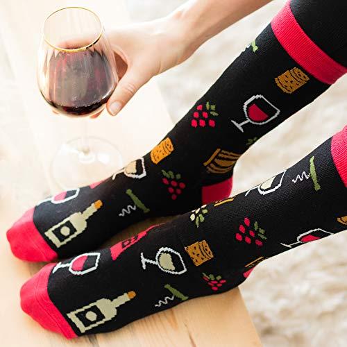 Lavley - Mens Novelty Socks - Funny Novelty Dress Socks For Men and Women (Wine)