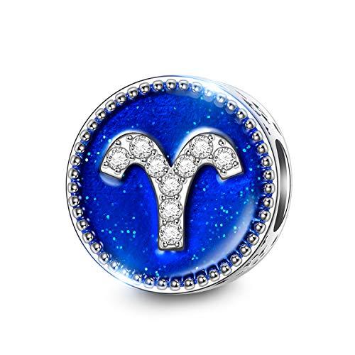NINAQUEEN Charm Pandora Adattarsi Ariete Segni Zodiaco Idee Regalo Donna Argento 925 Smalto Perline per la Madre Fidanzata Moglie
