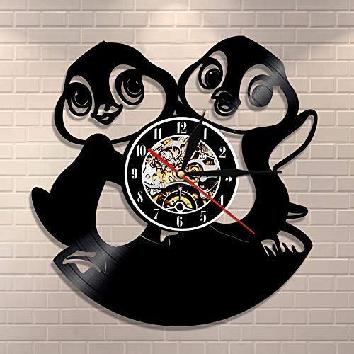 wtnhz LED-Jardín de Infantes Animal Colgante de Pared Arte Reloj de Pared bebé pingüino Disco de Vinilo Reloj de Pared pingüino Familia decoración de la habitación de los niños Reloj pingüino Regalo