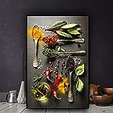sanzangtang Pintura sin Marco Especia Grano Cuchara Chile Cocina Lienzo Pintura Cartel y Grabado Arte de la paredCGQ4807 20X30cm