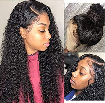 Luduna Deep Wave Lace Front Wigs Human Hair Deep Curly Wave Pre Plucked Lace Frontal Wigs with Baby Hair 9A 100% Uprocessed Brazilian Real Virgin Hair for Black Women 150% Density  16  Natural Color