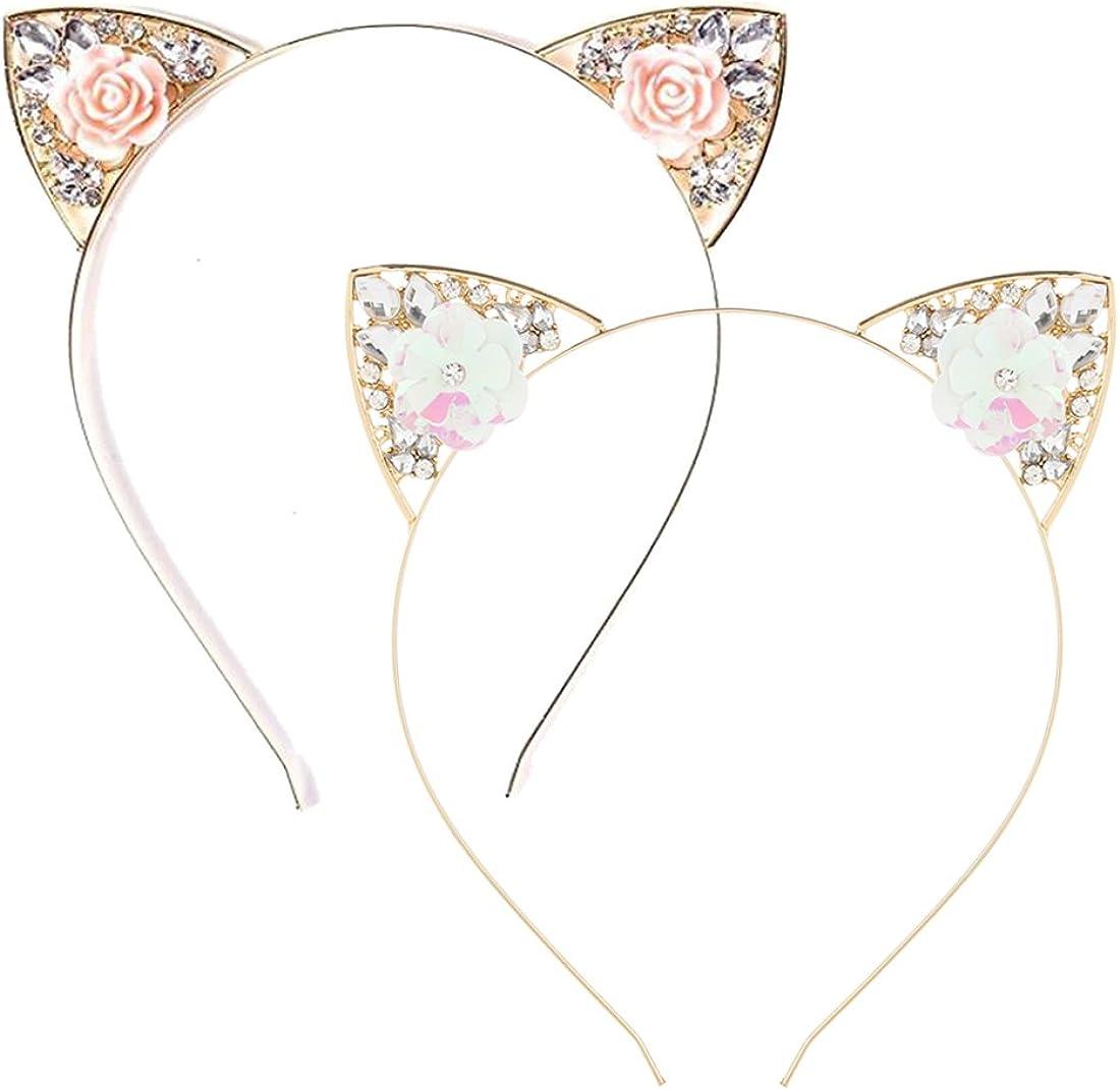 VK Accessories 2 pcs Rose Pink Flower Cat Ear Headband for Women 01