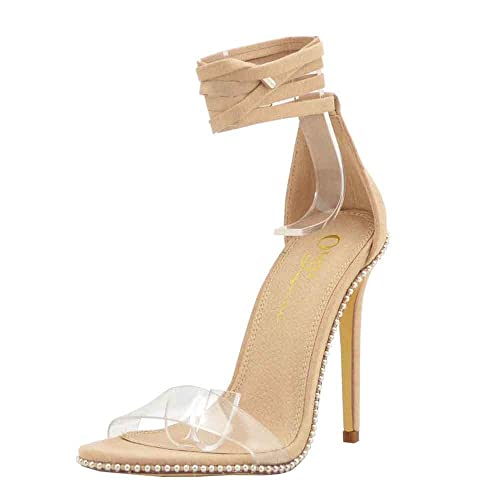 553e58c222a Embellished Silver Tone Stud Clear PVC One Band High Heel Gladiator Sandals  for Women