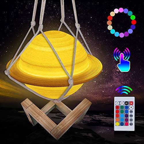 Mond Lampe, LED 3D Wiederaufladbares Saturn Lampe, 16 Farben Dimmbare Nachtlicht Lampe Fernbedienung und Touch Steuerung, mit Holzständer und hängendem Netz (15 cm)