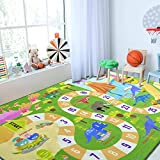 Chicrug Kids Dinosaur Playmats Educational Area Rugs, Kids Play Mat Carpet for Learning Numbers, Animals and Words for Children's Room Playroom Nursery, Kid's Floor Play Rug for Bedroom, 3x5 Feet
