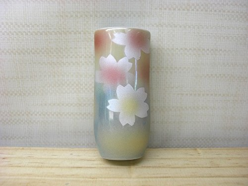 Kutani-yaki japonés cerámica colgar en la pared jarrón kemonryou/Flores patrón tk-207