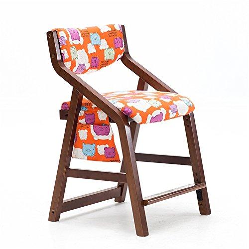 ZXH kinderstoel leerstoel van massief hout rugleuning comfort verstelbaar verhoging leeftijd 3-18 jaar (voeten van bruin hout + rood) 48 x 51 x 77 cm Meubels