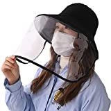 Fancet(ファンシット) 花粉症対策 飛沫を防ぐ 防塵 フェイスカバー つば広ハット uvカット帽子 防護帽 レディース メンズ 日よけ帽子 日除け防止 日焼け止め 紫外線対策 婦人用 女優帽 夏用 自転車 折りたたみ ひも uvhat ぼうし 大きいサイズ 黒