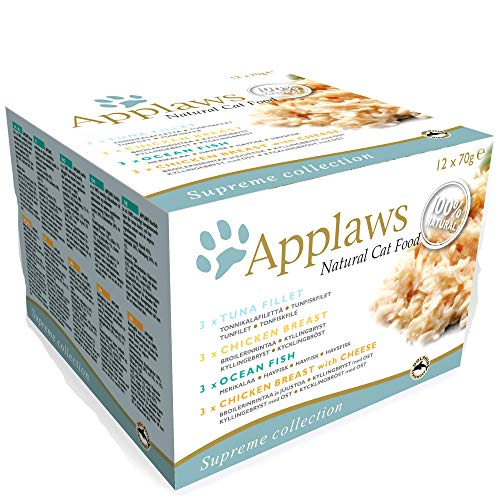 Applaws 100 Percent Natural Wet Cat Food, Multipack Fish and Chicken Mixed Selection in Broth 70 g Tin (Pack of 12)