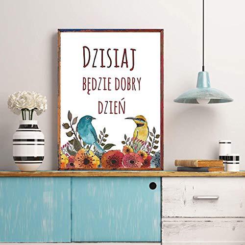 Citas inspiradoras polacas Impresión en lienzo de Polonia Hoy es un buen día Pintura minimalista Arte de la pared Póster Decoración para sala de estar 50x70cm Sin marco