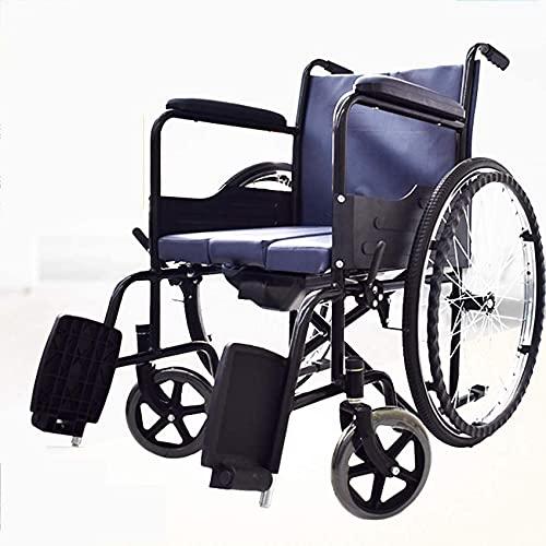 Sillas De Ruedas, Silla con Inodoro con Pedal De Freno De Mano Respaldo Cómodo para Mujeres Embarazadas/Ancianos/Pacientes/Discapacitados A