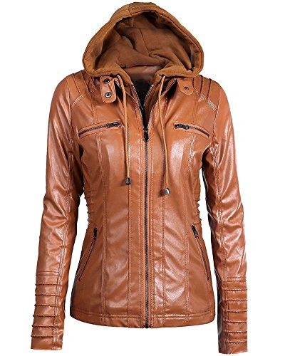 ZhuiKun Damen Übergangsjacke Winter Kunstlederjacke Einfarbig Kapuzenmäntel Damenjacke Bikerjacke mit Kapuzen Kaki XL