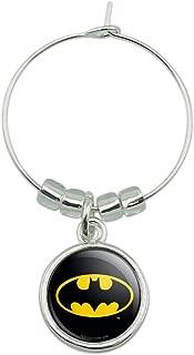 Batman Classic Bat Shield Logo Wine Glass Charm Drink Marker
