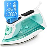 NATURALIFE Steam Iron with LCD Display, 11 Preset Temperature and Steam Settings
