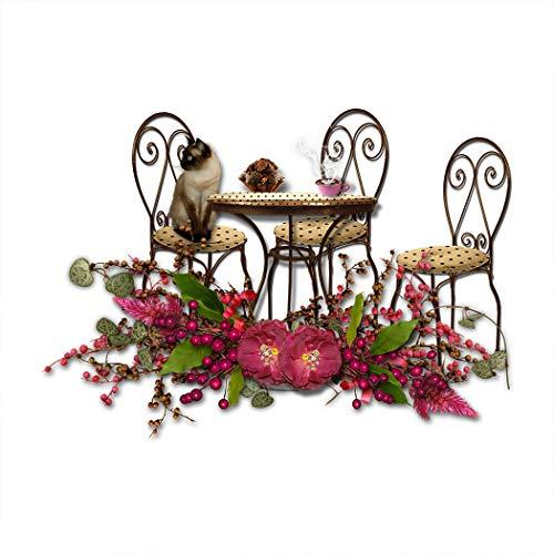 SpringFlower Muursticker Leuke Kat Mooie Tuinstoel Bureau Home Print Decoratie Poster Ontwerp Moderne Mural Muur Aangepast Product voor Woonkamer, Lijm Materiaal