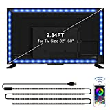 TV LED Backlights, CT CAPETRONIX 9.84ft USB RGB Strip Lights Kit, 5050 LEDs Lighting Music Sync Color Changing with Manual or APP Control for iOS Android for TV/Monitor Sizes 32-60 inch