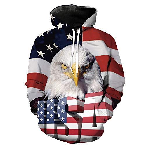 Unisex novedad 3D impresión American USA bandera águila sudaderas Casual Pullover manga larga con capucha sudaderas