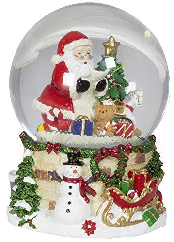 Christmas Paradise Weihnachts-Deko Schneekugel mit Mechanischer Spieluhr Dekoration Weihnachtsmann 14cm Bunt