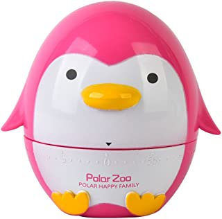 Golandstar Cute Cartoon Penguin Timers 60 Minutes Mechanical Kitchen Cooking Timer Clock Loud Alarm Counters Mini Size Manual Timer (Rose)
