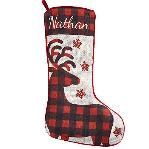 Let's Make Memories Personalized Christmas Stockings - Perfectly Plaid Rustic Stocking - Reindeer Design - Customize with Your Name - 20% cotton/80% Polyester - 7.5' W x 19' L
