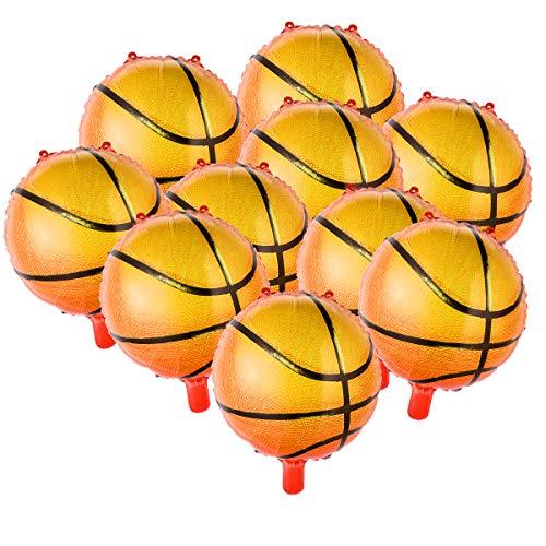 Amosfun 10 unids 18 Pulgadas Balones de Baloncesto Papel de Aluminio Globo Fuentes del Partido para cumpleaños Juego Mundial Deportes Decoración del Partido
