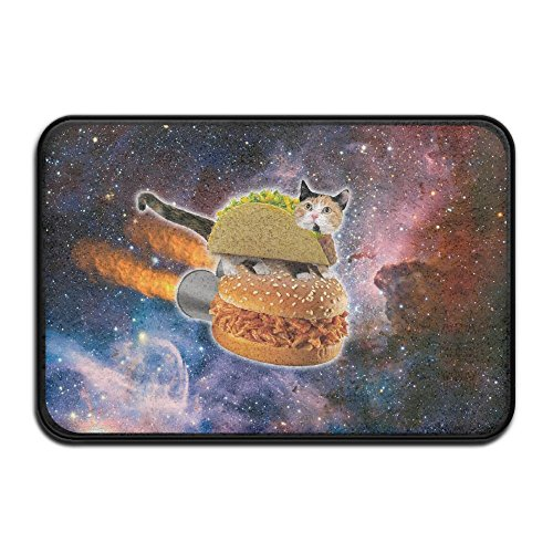 1 Piece Smart Dry Memory Foam Bath Kitchen Mat for Bathroom - Pizza Cat Flying Hamburger Galaxy Nebula Space Star Universe Shower Spa Rug Door Mats Home Decor With Non Slip Backing - 24in x 16in