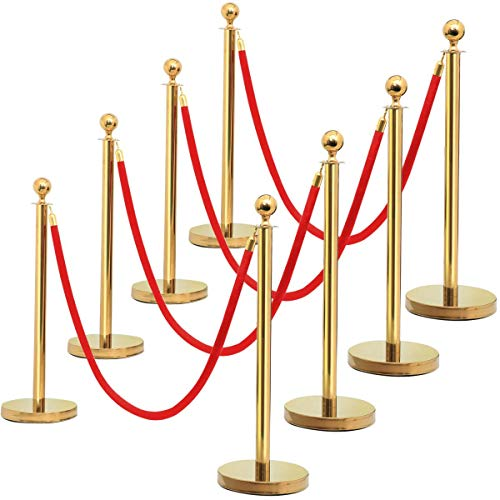 Yaheetech 2/4/6/8 Pcs Gold Stanchions and Velvet Ropes Ball Top Stanchions Posts with 6.5ft Red Velvet Rope,Stainless Steel Crowd Control Barrier Set 8