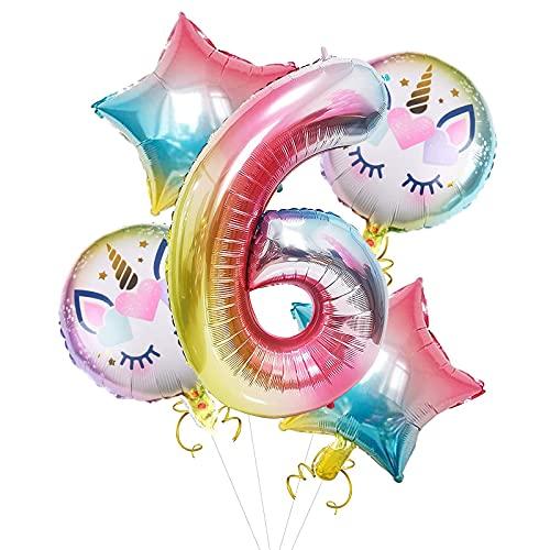 Palloncino Numero Unicorno 6,Unicorno Palloncini Decorazioni,Unicorno Palloncini con stagnola,temi del Mare,Doccia per Bambini,Unicorno Palloncini Decorazioni per Feste di Compleanno(6)