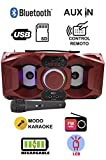 ITK 719-Rojo Altavoz Bluetooth Portatil con Karaoke, Luces LED, USB SD y Radio