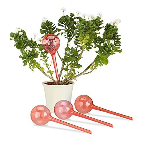 Relaxdays Irrigatieballen, set van 4, 2 weken, inschuifbaar, potplanten, gedoseerde irrigatie 250 ml, kunststof, rood, 4 stuks
