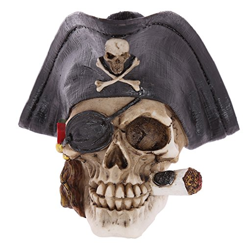 Puckator SK240 Crâne de décoration Pirate avec Cigare, Résine, Noir/Gris/Beige, 13,5 x 12 x 13 cm