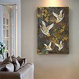 REDWPQ Peinture sur Toile Oiseaux rétro Art Mural Or Oiseau Nuage Affiches et Impressions Photos murales japonaises pour Salon décoration Maison 40x60 cm sans Cadre B