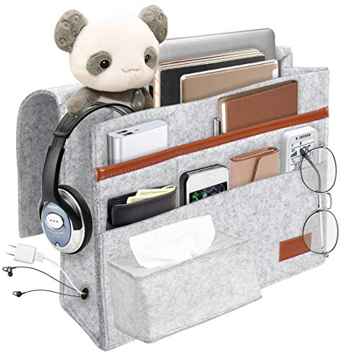 Kernorv Upgraded Large Bedside Caddy Organizer, Heavy Duty Felt Bedside Storage Bed Caddy with Tissue Box and Cable Port for Tablet Pad Phone TV Remotes Magazine Books Phone Chargers (Grey)