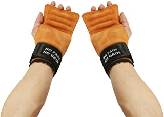 Weight Lifting Leather Excise Gloves,Perfect for Bench Press & Dead Lift, Non-Slip Palm Protection and Adjustable Wrist Strap, Workout Golves for Man & Women (Pair)