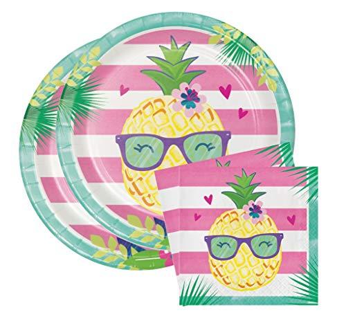 Aloha Pineapple N Friends Party Bundle 9 Plates (16) Napkins (16)