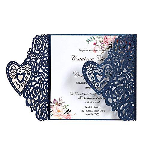 10 STKS 5.9x5.9 Inch Bruiloft Uitnodigingen Kits Laser Cut Holle Rose Pocket met Bedrukbaar Papier en Enveloppen voor bruiloft, Verjaardagsfeesten, Baby Douche, Afstuderen Blauw