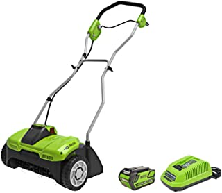 Greenworks 40V 14-Inch Cordeless Dethatcher/Scarifier, 4Ah Battery and Charger Included DHF301