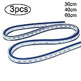 BESTOYARD Acero Inoxidable Gobernante Metal para Engineering Dibujo 3/Piezas 20/cm 30/cm 40/cm