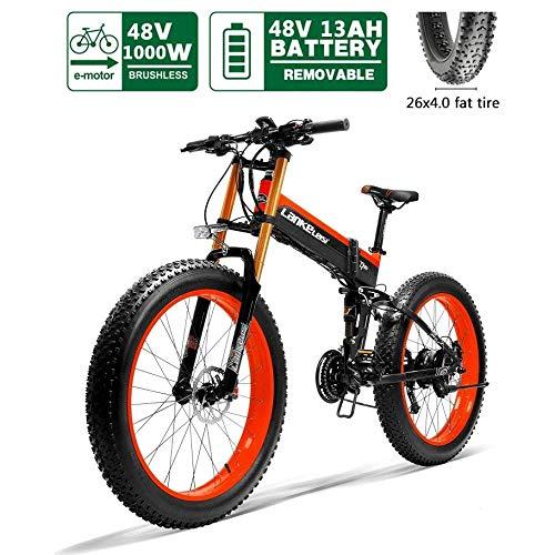 TCYLZ Ebikes Elektrofahrrad, Fettreifen Elektrofahrräder Mountainbike 26 E-Bike mit 48V 13Ah/1000W Lithium-Batterie mit 21-Gang Shimano Nabenschaltung