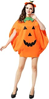 Adult Halloween Pumpkin Costume with Hat Cosplay Party Fancy Dress Up Clothes Orange