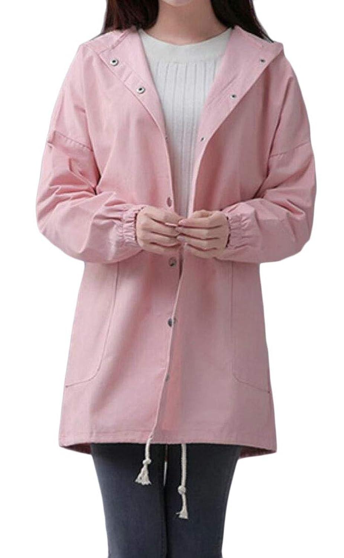 maweisong ウィメンスカジュアルシングルブレストフード付きの軽量スナップボタンジャケット