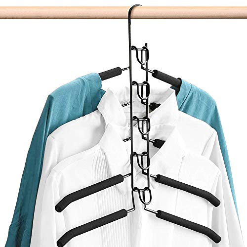 Hangers Space Saving5 in 1 Non-Slip Metal Magic Clothes Hanger for Household Space SaverMultifunctional Clothes Rack Coat Suit Jacket Sweater Skirt Shirt Pants for Wide Shoulder Black 1 Pack