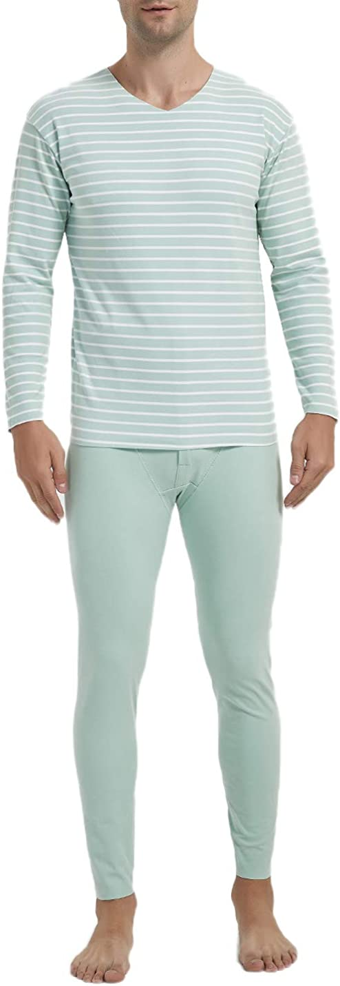 Locachy Men's V Neck Warm Stretchy Striped Base Layer Long Johns Thermal Underwear Set
