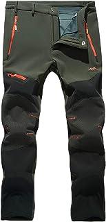 MAGCOMSEN Men's Outdoor Fleece Lined Softshell Pants 5 Zipper Pockets Waterproof Skiing Hiking Pants with Belt
