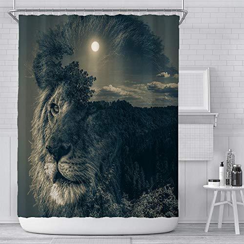 Mit Haken Duschvorhang (160 X 180 cm) Waschbar Stoffe Antischimmel Badvorhang Polyester Löwe Mit Duschvorhang Haken Für Dusche Badewanne Badezimmer